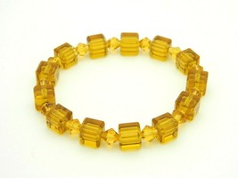 Topaz Glass Square Faceted Crystal Rhinestone Stretch Bracelet - $19.79