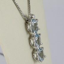 18K WHITE GOLD NECKLACE, AQUAMARINE TRILOGY PENDANT WITH DIAMOND, VENETIAN CHAIN image 2