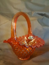 Fenton Art Glass Orange Amberina Hobnail Basket Stamped & Paper Label - $19.95