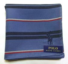 POLO Ralph Lauren Handkerchief hanky scarf bandana Blue Striped Men Auth... - $23.76