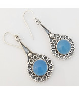 925 Sterling Silver Blue Chalcedony Gemstone Earrings, Handmade Jewelry ... - $30.99