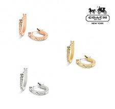 NWT COACH Pave Signature Huggie Earrings Jewelry Rhinestone Gold Silver ... - $39.60+