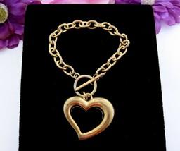 "Huge HEART CHARM Bracelet Vintage 1 3/8"" Goldtone Chain Toggle Clasp 8"" Length - $12.99"