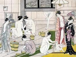 Japanisch Badezimmer Kunst Arbeit Badehaus Baden Dekor 11x15 von Torii Kiyonaga - $12.38