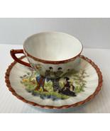 Antique Porcelain Nippon Japan Hand Painted Cup & Saucer Geisha Girls - $12.82