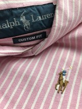 Polo Ralph Lauren Men Oxford Shirt Pink Button Up Down Custom Fit Large ... - $27.80