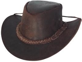 Bullhide Cedar Groove Leather Cowboy Hat  Aussie Crown Leather Rope Band... - $60.00
