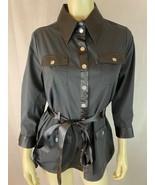 Vertigo Paris Blouse M Black Cotton S Stretch Top Snap Front Shirt 3/4 S... - $37.62