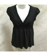 Charlotte Russe L Top Black White Polka Dot Empire Cap Sleeve Babydoll Shirt - $16.64