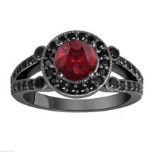 1.57 CARAT GARNET AND ENHANCED BLACK DIAMONDS ENGAGEMENT RING 14K BLACK ... - $1,800.00