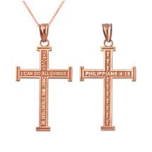 LA BLINGZ 10K Two-Tone Rose Gold Eastern Orthodox Cross Pendant Necklace