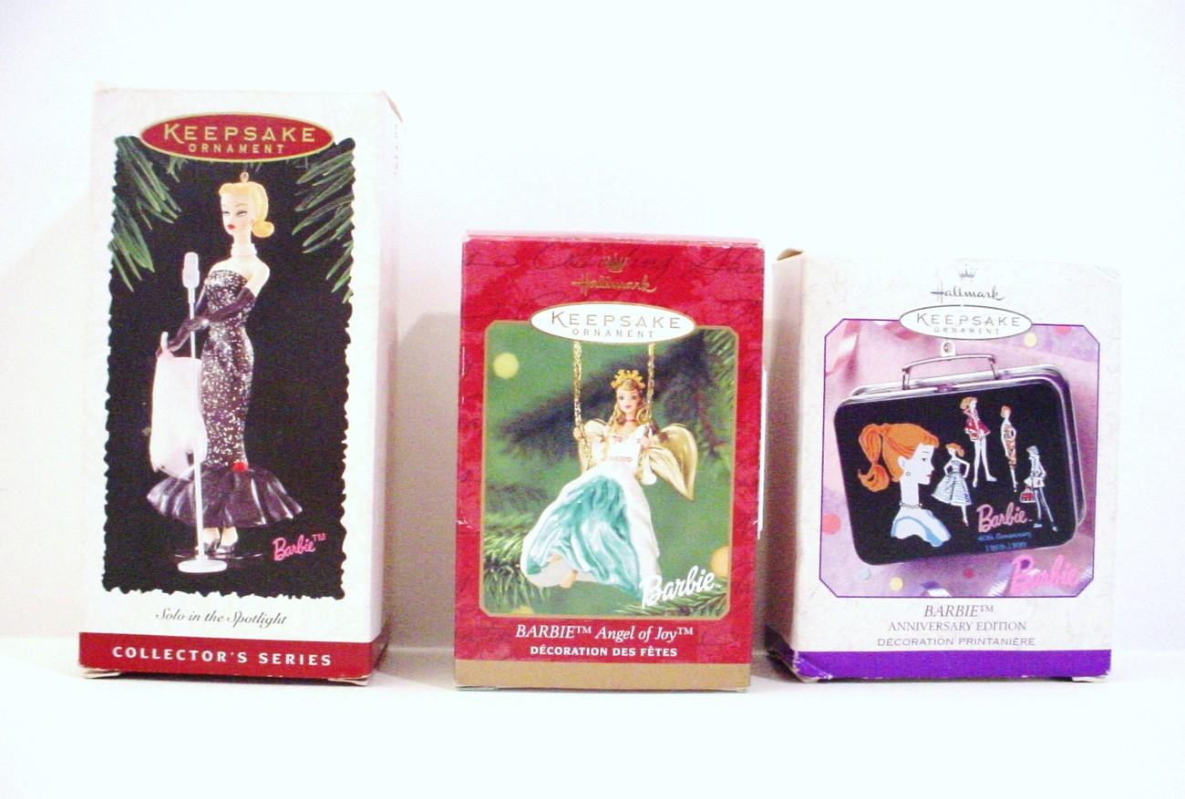 3 Barbie Keepsake Ornaments  Angel Solo In Spotlight Barbie Lunch Box