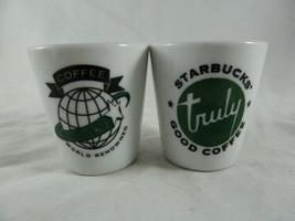 Starbucks Coffee White Espresso Shot Glasses World Renowned & Truly Good Coffee - $18.80