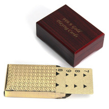 [NEW] Gold Plated Poker Playing Cards With Wooden Box For Party Casino C... - $11.47