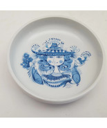 Set of 4 Vintage Blue & White Lady With Bird And Flowers Wine Coasters  - $37.83