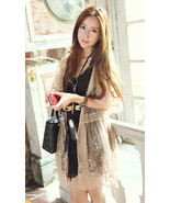 Summer Romantic Feminine Lace Mesh Beige Cardigan. Khaki Sheer Lace Dress - $59.90