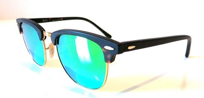 ed06018be2 57. 57. Previous. Ray-Ban Clubmaster Matte Tortoise Frame GREEN Mirror  Flash Lens RB3016 1145 19