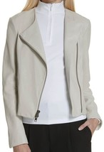 New with Tag - $995 VINCE. Lamb Leather Dove Grey Cross Front Moto Jacket Size L - $296.99