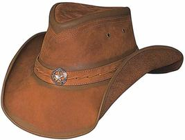 Bullhide Cooper Creek Leather Cowboy Hat Star Concho Shapeable Brim Honey Brown - $86.00