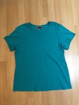 #388--  Karen Scott Woman teal color knit shirt top, size 1X- - $7.30
