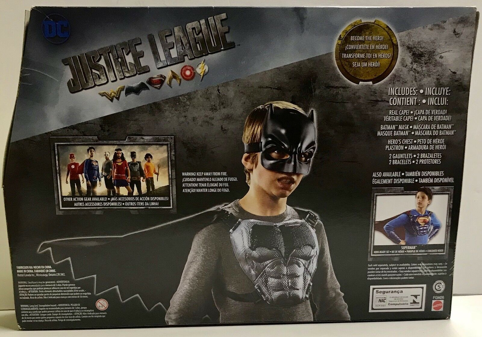 DC Justice League BATMAN Hero-Ready Set ~ Cape, Chest Gear, Cowl Gauntlets NEW