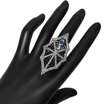 Vintage 925 Silver SPIDER WEB Cocktail Ring Moonstone Pave 2.5ct Diamond... - $847.23