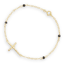 Gold Plated Chain Bracelet with Spinel Beads and Sideways Crucifix - $53.95