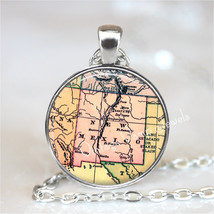 NEW MEXICO Map Pendant Necklace Glass Photo Art Vintage Map Jewelry Santa Fe Ant - $12.95