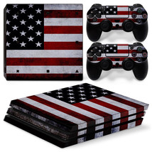 Sony PS4 American Flag PRO Console & 2 Controllers Decal Vinyl Art Skin Sticker - $14.82