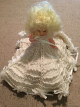"Vintage Hard Plastic Doll 12"" Tall Wedding Dress Homemade Clothing White... - $69.29"
