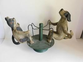 Vintage Christopher Blake Dept. 56 Merry Go Round Cat & Dog Figurine Rot... - $120.94