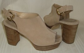 Michael Kors Piper Sling Luggage Suede Platform Block Heel Shoes  Size U... - $29.69