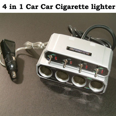 4 ways Car Cigarette Lighter Socket w On/Off  Switch Bonanza
