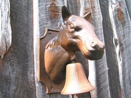 big Cast Iron Dinner BBQ Bell Western Horse Head Wall Hang bz - $94.98