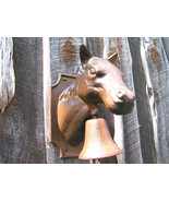 big Cast Iron Dinner BBQ Bell Western Horse Head Wall Hang bz - $94.98
