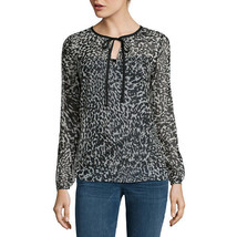 a.n.a Long-Sleeve Tie-Neck Blouse Size XS, XL New Electric Leopard - $14.99