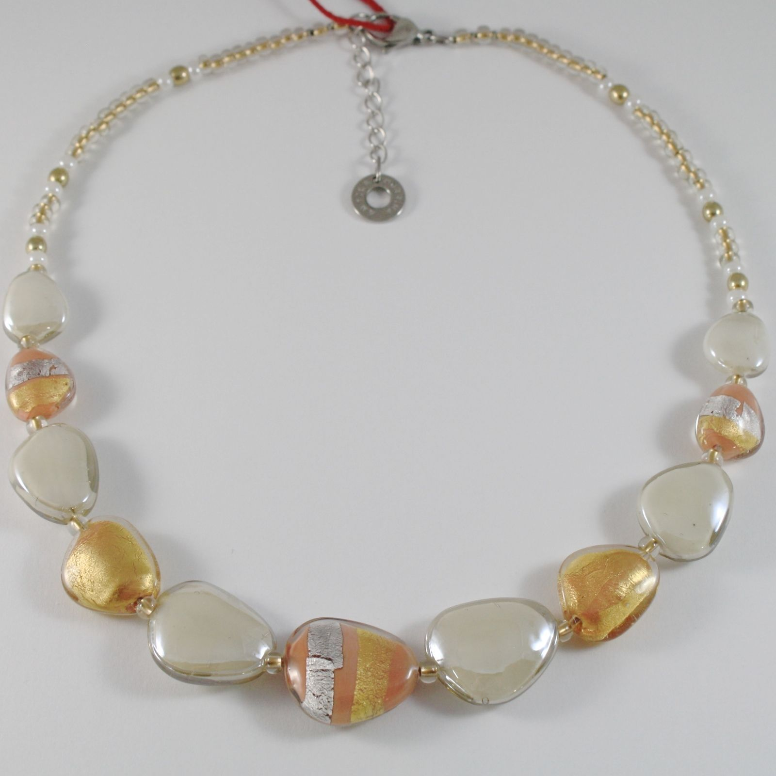 ANTICA MURRINA VENEZIA STRIPED NECKLACE, SAND BEIGE SILVER AND GOLD FLAT DROPS