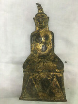 HOLY BLESSED OLD GOLD NGANG KHMER STATUE TOP LOVE CHARM MAGIC THAI BUDDH... - $19.99