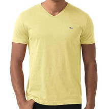 NEW NWT LACOSTE MEN'S SPORT ATHLETIC COTTON V-NECK SHIRT T-SHIRT BEURRE TH6604