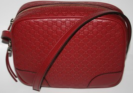 NWT GUCCI MICRO GG GUCCISSIMA MESSENGER BAG RED LEATHER 449413 - $816.75