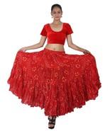 Rouge Rajasthani Jaipur Jupe Danse Du Ventre Tenue de Coton - $52.28