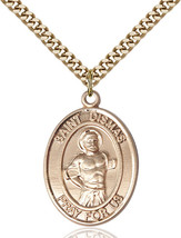 14K Gold Filled St. Dismas Pendant 1 x 3/4 inch with 24 inch Chain - $135.80