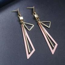 Long Drop Big Gold Statement Geometric Triangle Dangle Earrings (Pink - $5.45