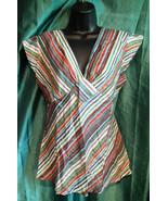 SUMMER TUNIC-BEACH/FESTIVAL/BOHO-pinstripe,capsleeve,TIE WAIST,cotton,li... - $26.29