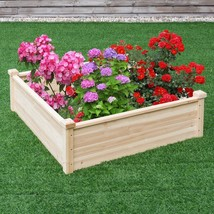 Wooden Square Garden Bed Vegetable Spices Flowers Plants Pots Wood Storage - €53,64 EUR