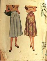 VTG 1940s Sewing Pattern McCall #6978 Skirt Waist 26 - $20.10
