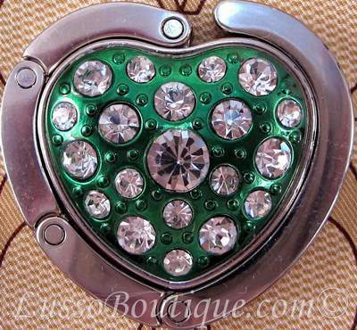Primary image for Heart Shape Crystal Handbag Holder Purse Hook Green Free Organza Bag