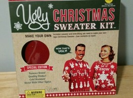 NIB Ugly Christmas Sweater DIY Kit with Red Sweater Tacky Party sz Adult... - $24.19