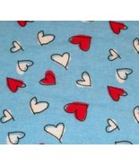 RED WHITE HEARTS BLUE FLANNEL FABRIC A.E. NATHAN  - $24.99