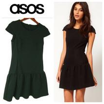 ASOS Drop Waist DRESS 8 Medium BLACK Career Cocktail Party - $20.48